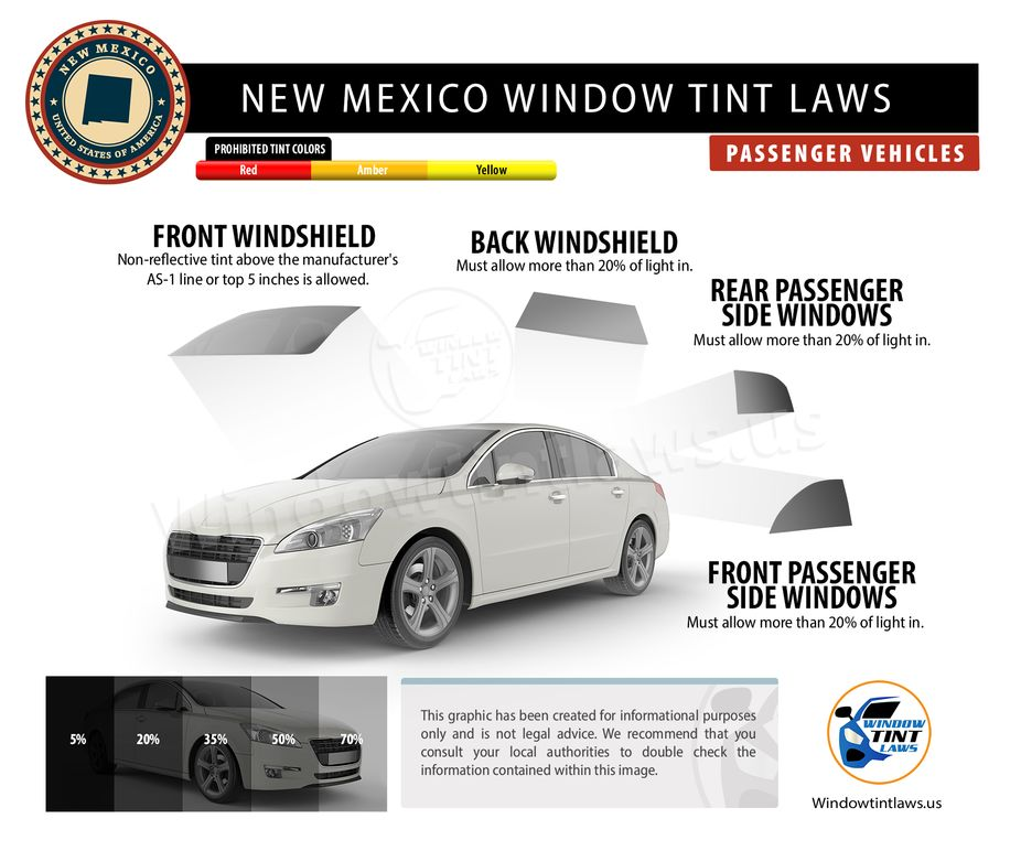 new mexico tint laws passenger