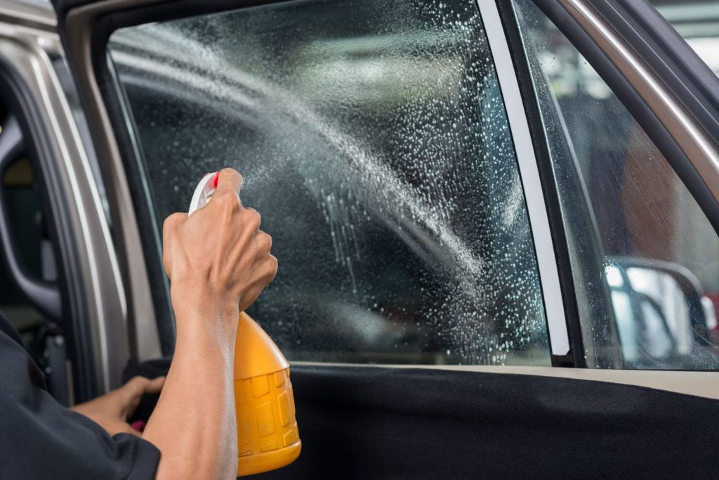 cleaning car windows tinting